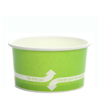 5 oz green paper frozen yogurt cups, great for ice cream and gelato.