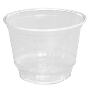 8 oz. plastic dessert cups are ideal for ice cream, snowballs, frozen yogurt, parfaits, or mousse in this clear 8 oz. PET sundae cup.