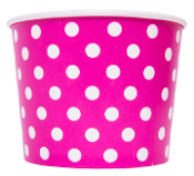 4 oz pink polka dot ice cream cups for frozen yogurt and ice cream paper cups.