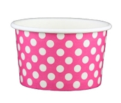 4 Oz. Pink Polka Dot Frozen Yogurt Cups 1000/Case