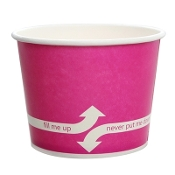 Pink paper cups for frozen yogurt.