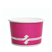 4 oz pink paper cups for ice cream and gelato. These ice cream cups are perfect for serving ice cream.