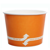 Orange paper cups for frozen yogurt.