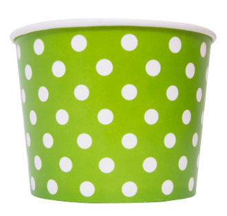 frozen yogurt cups. Paper yogurt cups, polka dot.